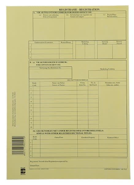 DEED LODGEMENT COVER & HIGH COURT FORMS