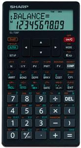 SHARP - EL738 FINANCIAL CALCULATOR Statistics - Black / Red