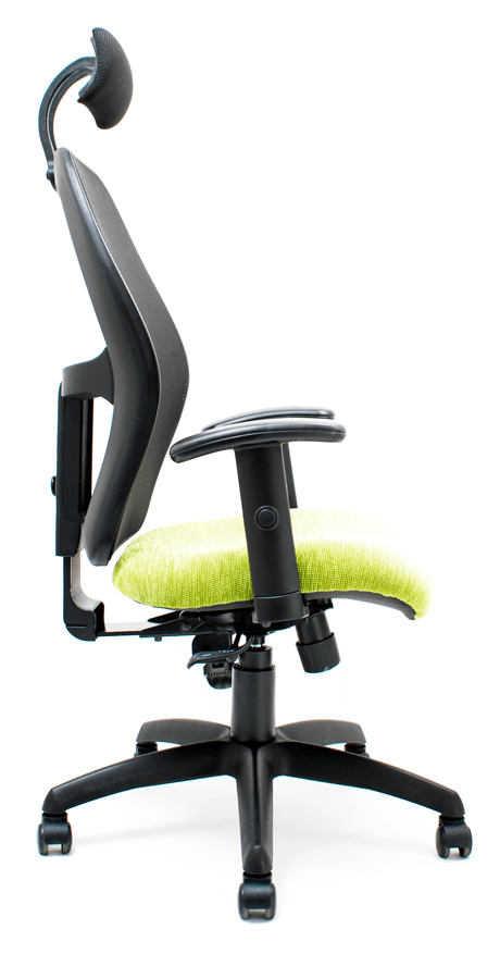Side profile of green office chair