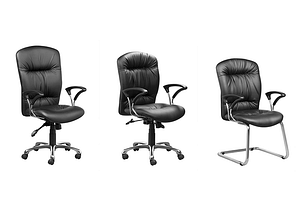 3 black executive office chairs